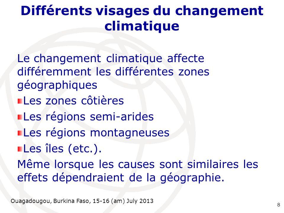 Ouagadougou, Burkina Faso, 15-16 (am) July 2013 Différents visages du changement climatique Le changement climatique affecte différemment les différen