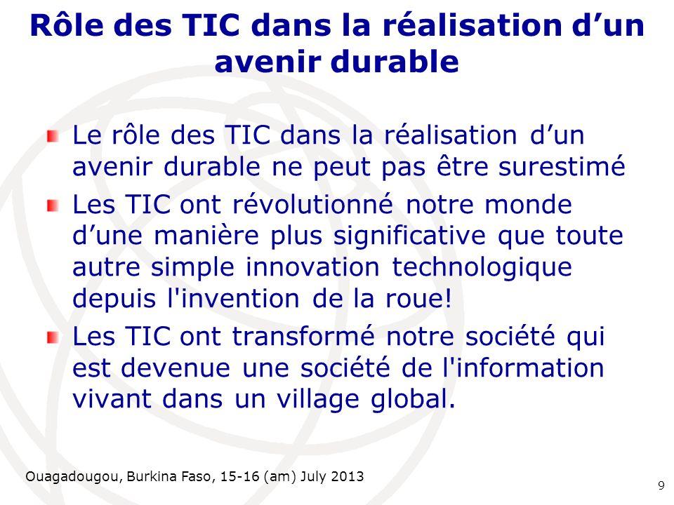 Ouagadougou, Burkina Faso, 15-16 (am) July 2013 Rôle des TIC dans la réalisation dun avenir durable Le rôle des TIC dans la réalisation dun avenir dur