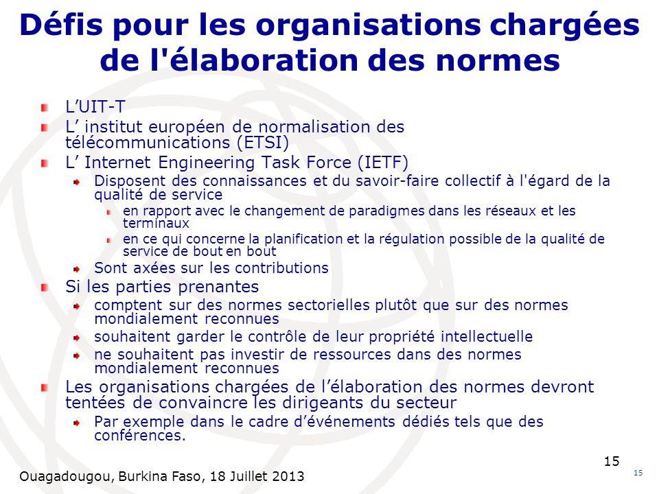 Ouagadougou, Burkina Faso, 18 Juillet 2013 15 Défis pour les organisations chargées de l'élaboration des normes 15 LUIT-T L institut européen de norma