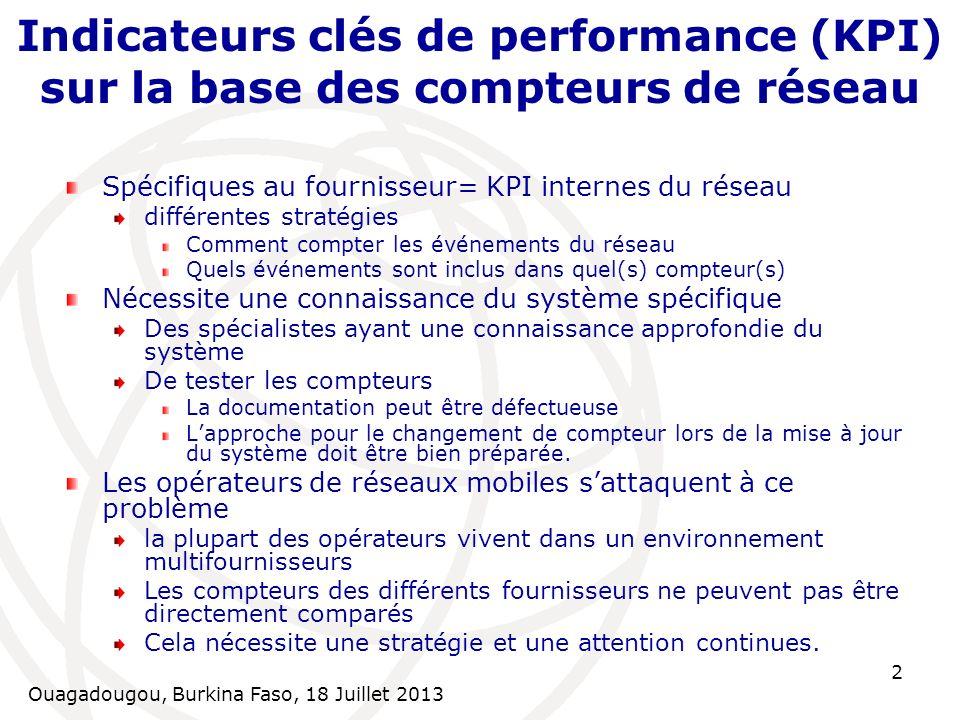 Ouagadougou, Burkina Faso, 18 Juillet 2013 3 KPI tel que vue par les utilisateurs = KQI Indicateurs clés de qualité (KQI) = indicateurs externes peuvent être évalués dans le domaine Pour la surveillance, la réglementation, etc.