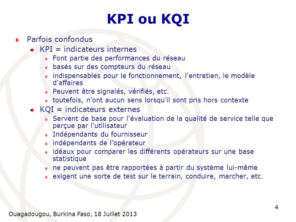 Ouagadougou, Burkina Faso, 18 Juillet 2013 4 KPI ou KQI Parfois confondus KPI = indicateurs internes Font partie des performances du réseau basés sur