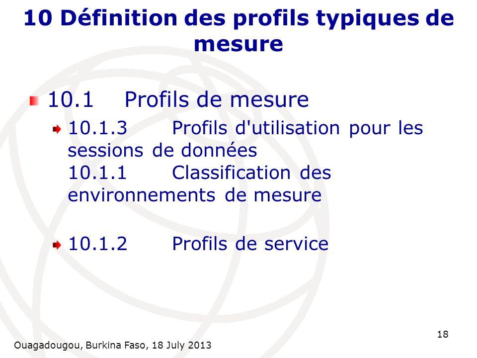 Ouagadougou, Burkina Faso, 18 July 2013 18 10 Définition des profils typiques de mesure 10.1Profils de mesure 10.1.3Profils d'utilisation pour les ses