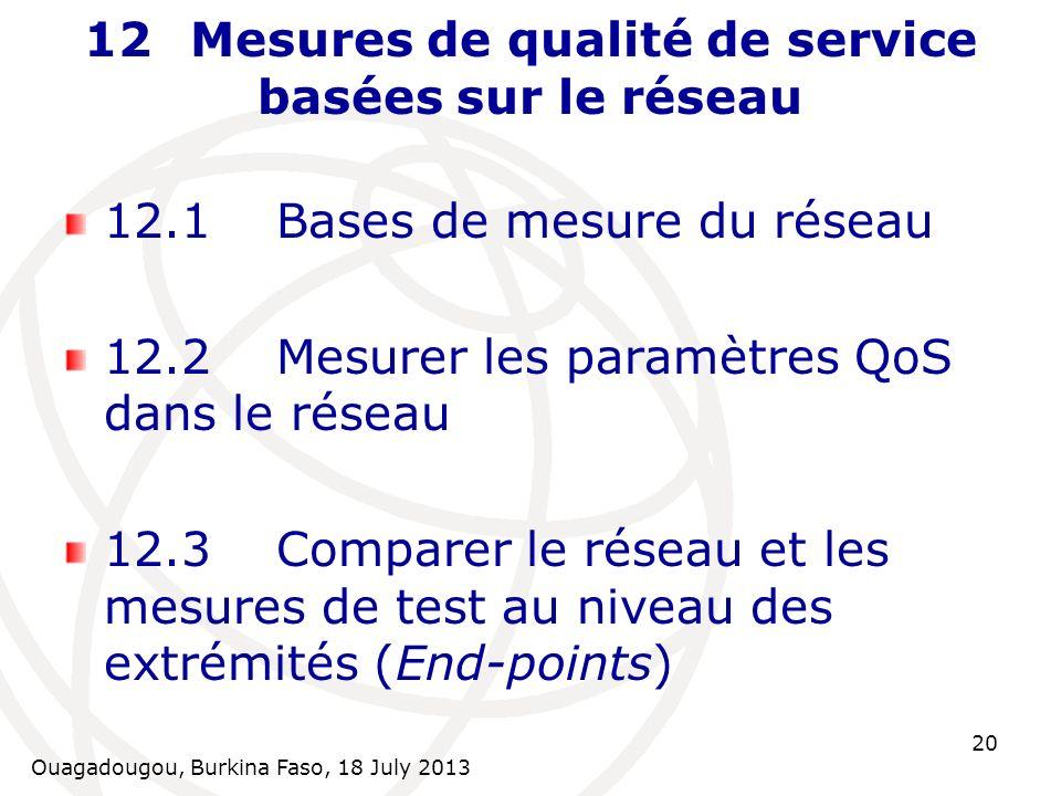 Ouagadougou, Burkina Faso, 18 July 2013 20 12Mesures de qualité de service basées sur le réseau 12.1Bases de mesure du réseau 12.2Mesurer les paramètr