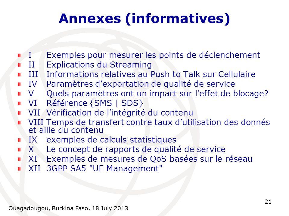 Ouagadougou, Burkina Faso, 18 July 2013 21 Annexes (informatives) IExemples pour mesurer les points de déclenchement IIExplications du Streaming IIIIn
