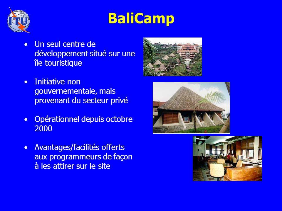 BaliCamp Un seul centre de développement situé sur une île touristique Initiative non gouvernementale, mais provenant du secteur privé Opérationnel depuis octobre 2000 Avantages/facilités offerts aux programmeurs de façon à les attirer sur le site