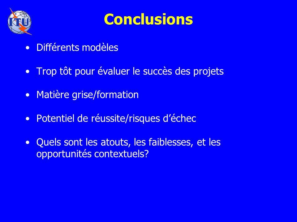 Conclusions Différents modèles Trop tôt pour évaluer le succès des projets Matière grise/formation Potentiel de réussite/risques déchec Quels sont les atouts, les faiblesses, et les opportunités contextuels?