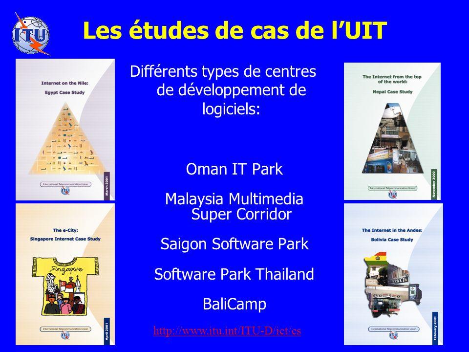Les études de cas de lUIT Différents types de centres de développement de logiciels: Oman IT Park Malaysia Multimedia Super Corridor Saigon Software Park Software Park Thailand BaliCamp http://www.itu.int/ITU-D/ict/cs