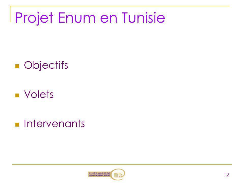 Projet Enum en Tunisie Objectifs Volets Intervenants 12