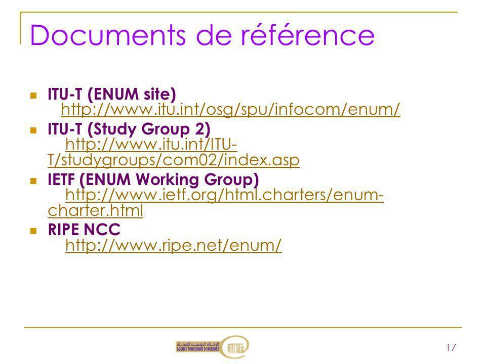 Documents de référence ITU-T (ENUM site) http://www.itu.int/osg/spu/infocom/enum/http://www.itu.int/osg/spu/infocom/enum/ ITU-T (Study Group 2) http:/