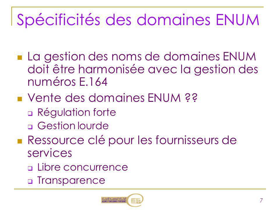 Spécificités des domaines ENUM La gestion des noms de domaines ENUM doit être harmonisée avec la gestion des numéros E.164 Vente des domaines ENUM ??