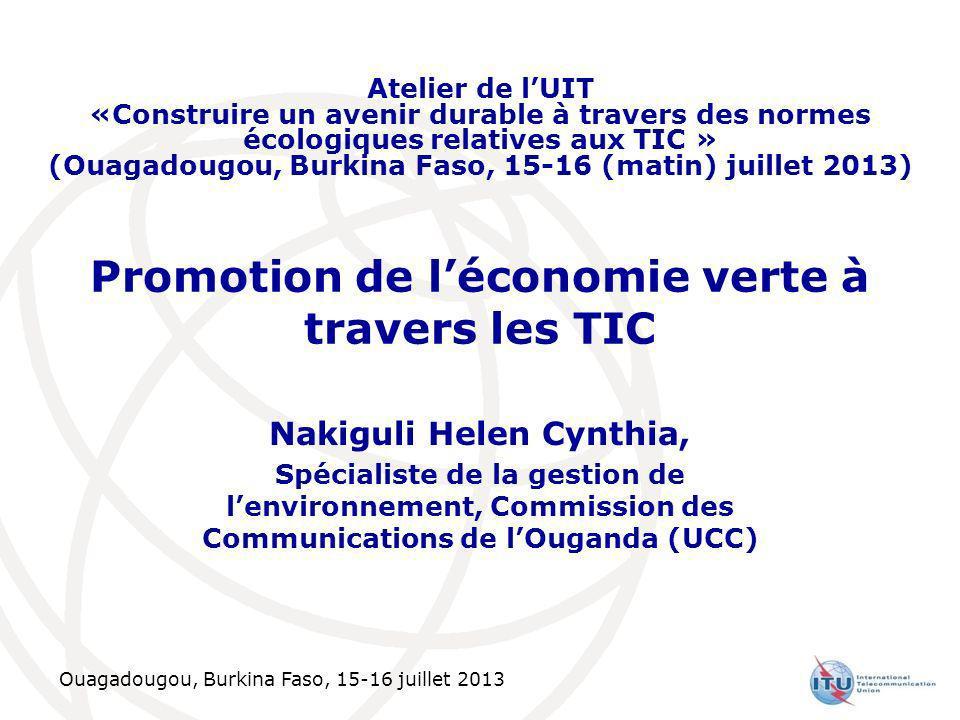 Ouagadougou, Burkina Faso, 15-16 juillet 2013 Promotion de léconomie verte à travers les TIC Nakiguli Helen Cynthia, Spécialiste de la gestion de lenv