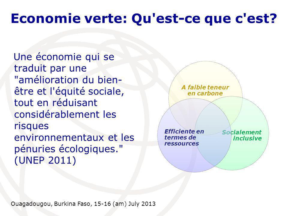 Ouagadougou, Burkina Faso, 15-16 (am) July 2013 Economie verte: Qu'est-ce que c'est? Une économie qui se traduit par une