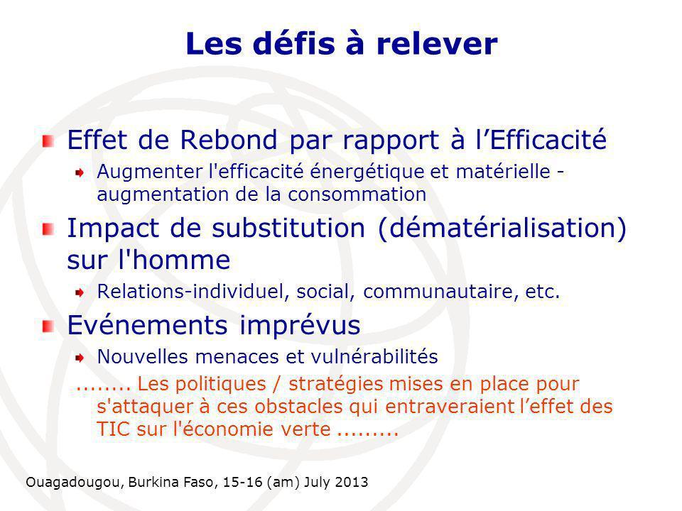 Ouagadougou, Burkina Faso, 15-16 (am) July 2013 Les défis à relever Effet de Rebond par rapport à lEfficacité Augmenter l'efficacité énergétique et ma