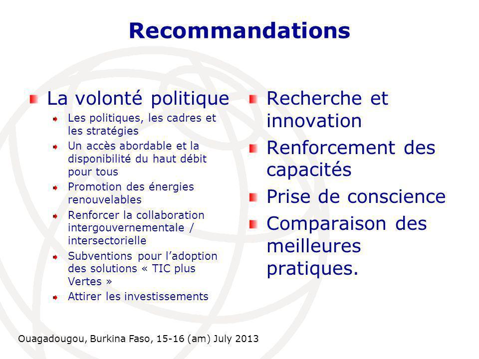 Ouagadougou, Burkina Faso, 15-16 (am) July 2013 Recommandations La volonté politique Les politiques, les cadres et les stratégies Un accès abordable e