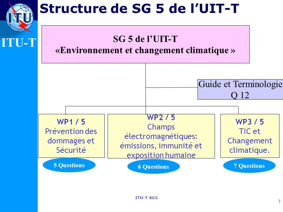 ITU-T ITU-T SG5 3 SG 5 de lUIT-T «Environnement et changement climatique » WP1 / 5 Prévention des dommages et Sécurité WP2 / 5 Champs électromagnétiques: émissions, immunité et exposition humaine Guide et Terminologie Q 12 WP3 / 5 TIC et Changement climatique.
