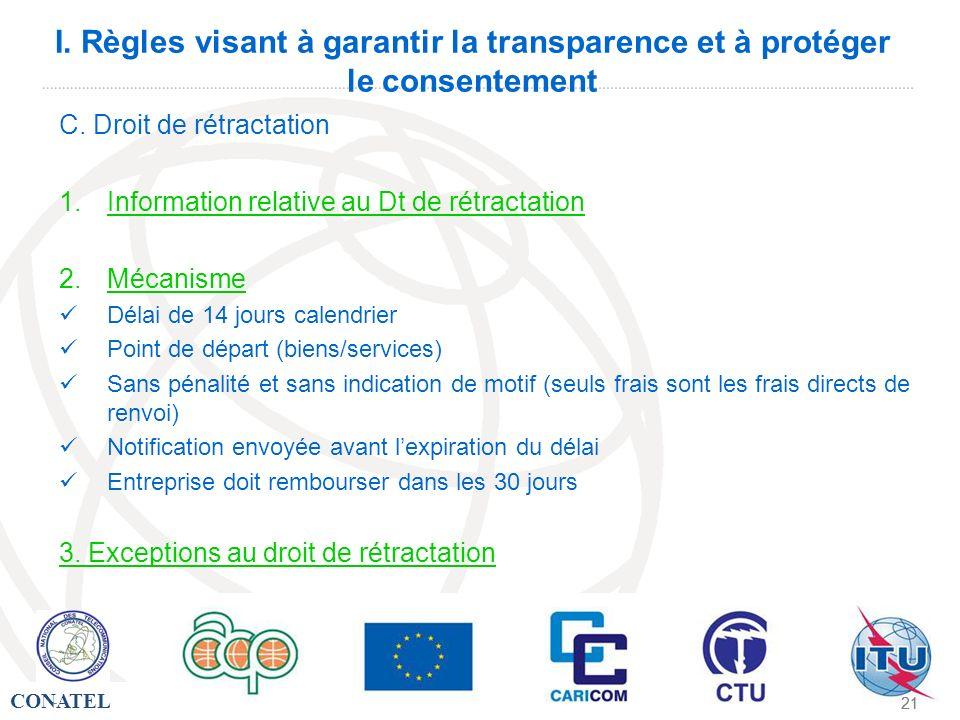 CONATEL - 21 - I. Règles visant à garantir la transparence et à protéger le consentement C. Droit de rétractation 1.Information relative au Dt de rétr
