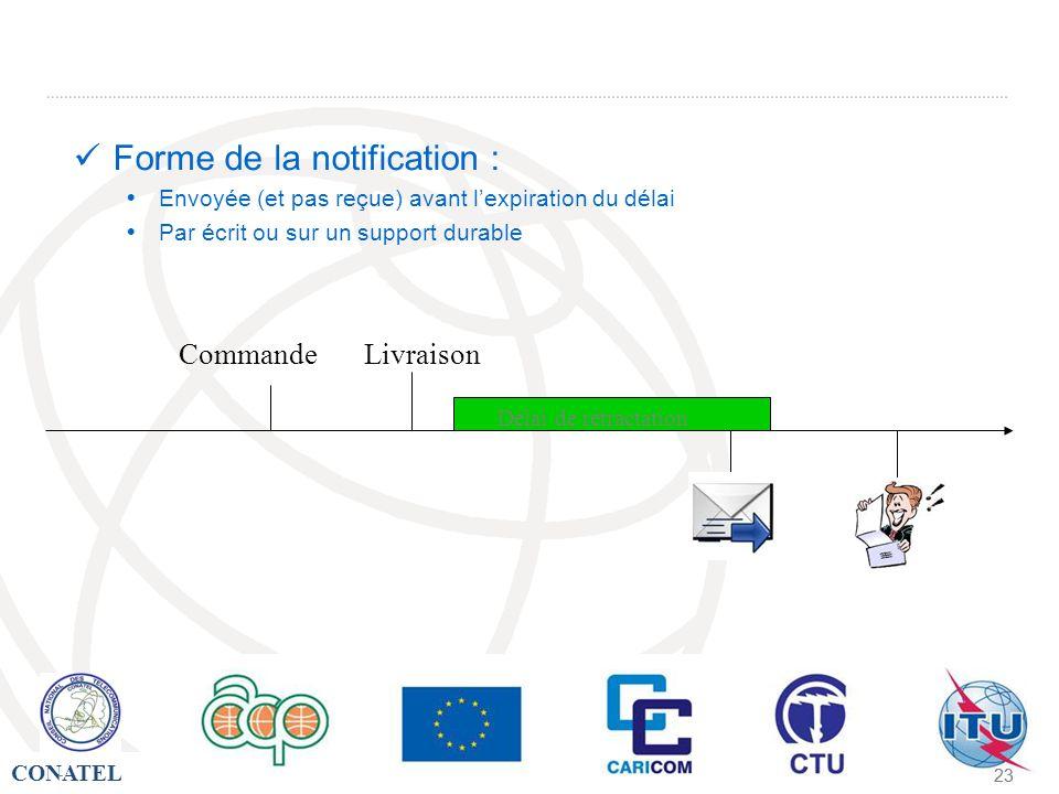 CONATEL - 23 - Forme de la notification : Envoyée (et pas reçue) avant lexpiration du délai Par écrit ou sur un support durable Livraison Délai de rét