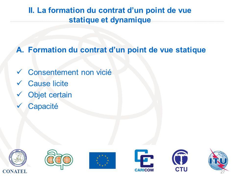 CONATEL - 27 II. La formation du contrat dun point de vue statique et dynamique A.Formation du contrat dun point de vue statique Consentement non vici