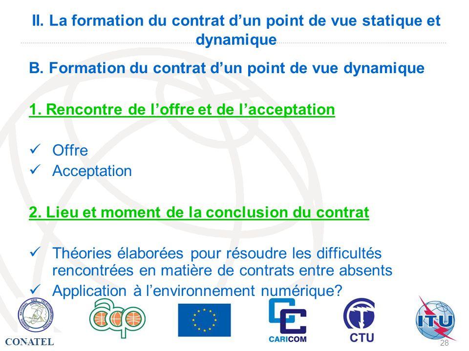 CONATEL - 28 II. La formation du contrat dun point de vue statique et dynamique B. Formation du contrat dun point de vue dynamique 1. Rencontre de lof