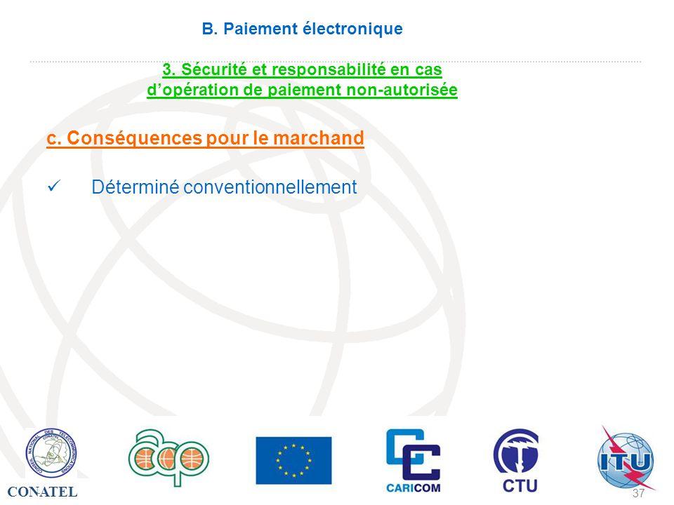 CONATEL - 37 - B. Paiement électronique 3. Sécurité et responsabilité en cas dopération de paiement non-autorisée c. Conséquences pour le marchand Dét