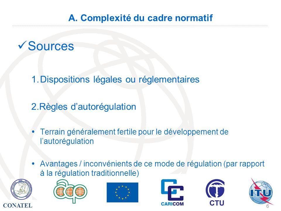 CONATEL - 6 A. Complexité du cadre normatif Sources 1.Dispositions légales ou réglementaires 2.Règles dautorégulation Terrain généralement fertile pou