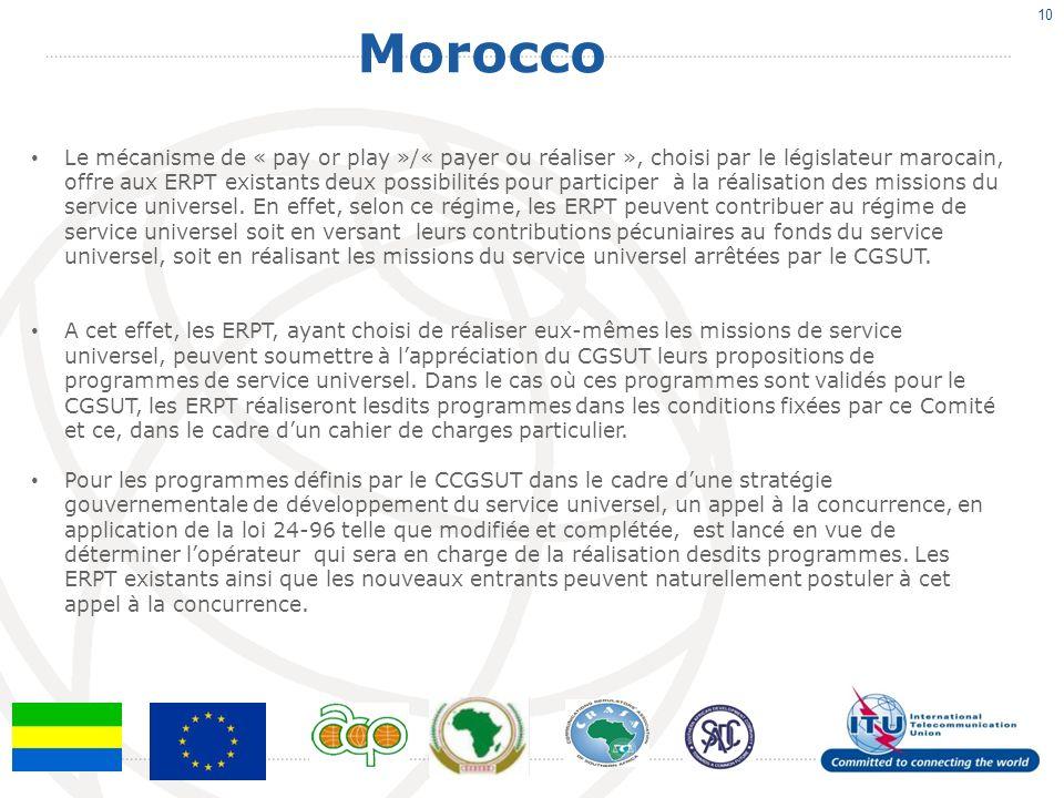 Morocco 10 Le mécanisme de « pay or play »/« payer ou réaliser », choisi par le législateur marocain, offre aux ERPT existants deux possibilités pour participer à la réalisation des missions du service universel.