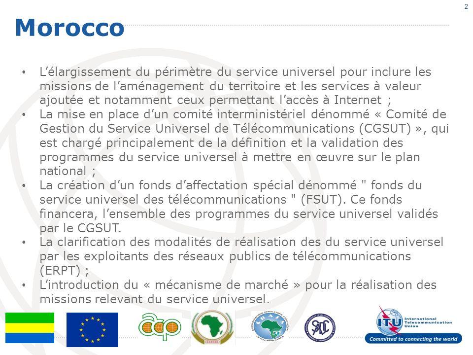 Morocco 2 Lélargissement du périmètre du service universel pour inclure les missions de laménagement du territoire et les services à valeur ajoutée et notamment ceux permettant laccès à Internet ; La mise en place dun comité interministériel dénommé « Comité de Gestion du Service Universel de Télécommunications (CGSUT) », qui est chargé principalement de la définition et la validation des programmes du service universel à mettre en œuvre sur le plan national ; La création dun fonds daffectation spécial dénommé fonds du service universel des télécommunications (FSUT).
