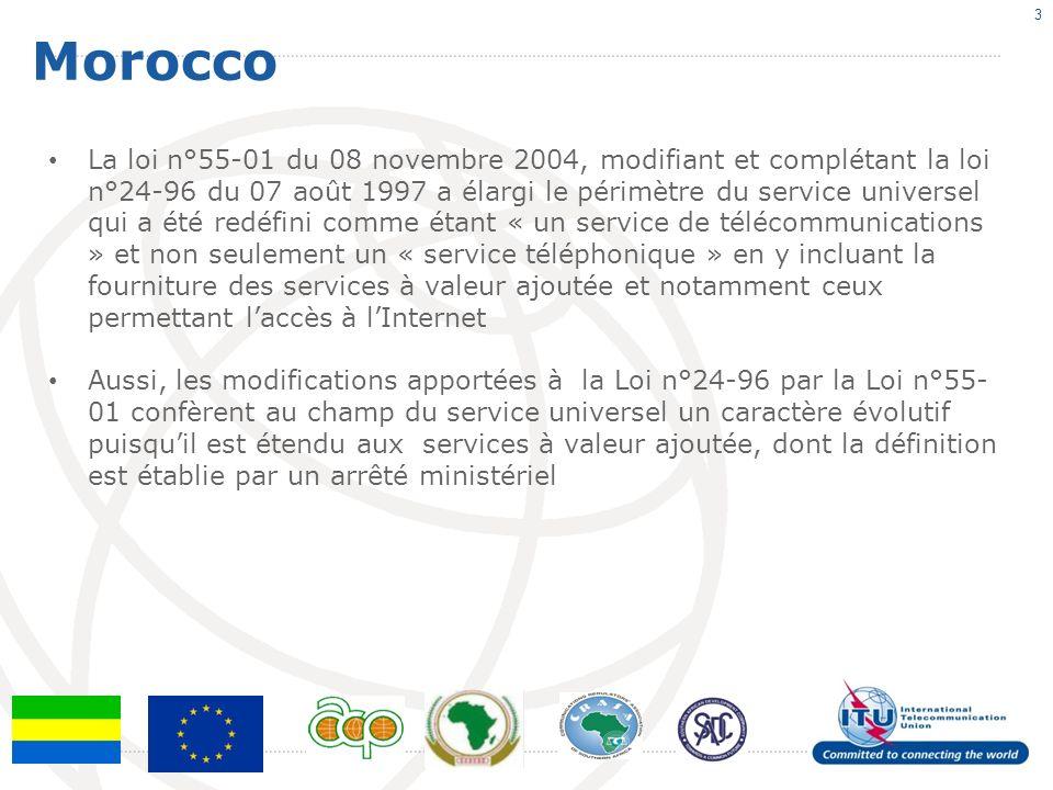 Morocco 3 La loi n°55-01 du 08 novembre 2004, modifiant et complétant la loi n°24-96 du 07 août 1997 a élargi le périmètre du service universel qui a été redéfini comme étant « un service de télécommunications » et non seulement un « service téléphonique » en y incluant la fourniture des services à valeur ajoutée et notamment ceux permettant laccès à lInternet Aussi, les modifications apportées à la Loi n°24-96 par la Loi n°55- 01 confèrent au champ du service universel un caractère évolutif puisquil est étendu aux services à valeur ajoutée, dont la définition est établie par un arrêté ministériel