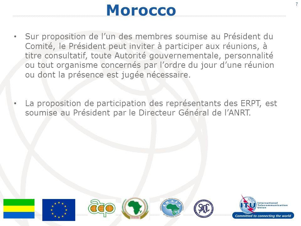 Morocco 7 Sur proposition de lun des membres soumise au Président du Comité, le Président peut inviter à participer aux réunions, à titre consultatif, toute Autorité gouvernementale, personnalité ou tout organisme concernés par lordre du jour dune réunion ou dont la présence est jugée nécessaire.