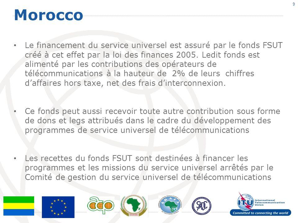 Morocco 9 Le financement du service universel est assuré par le fonds FSUT créé à cet effet par la loi des finances 2005.