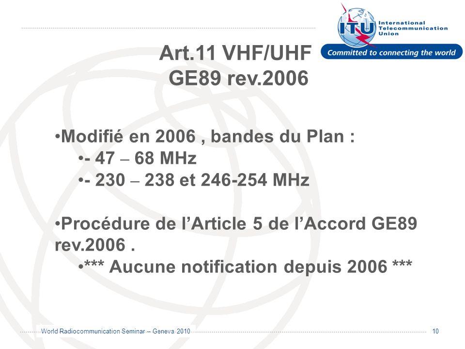 World Radiocommunication Seminar – Geneva 2010 10 GE06 MODIFICATION/NOTIFICATION Art.11 VHF/UHF GE89 rev.2006 Modifié en 2006, bandes du Plan : - 47 –