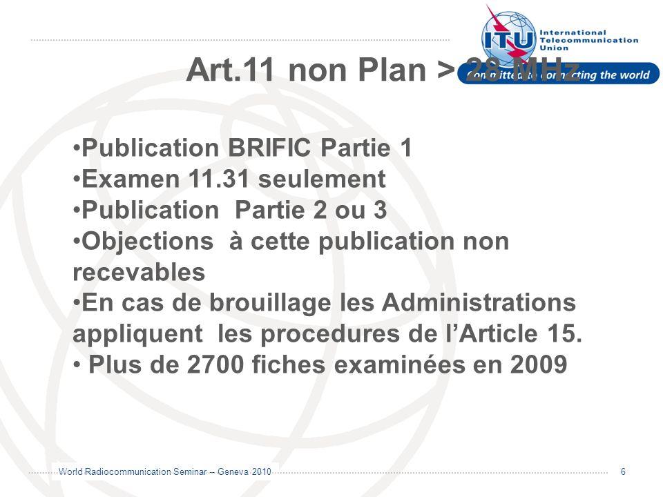 World Radiocommunication Seminar – Geneva 2010 6 Publication BRIFIC Partie 1 Examen 11.31 seulement Publication Partie 2 ou 3 Objections à cette publi