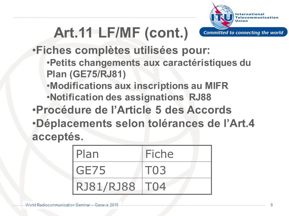 World Radiocommunication Seminar – Geneva 2010 10 GE06 MODIFICATION/NOTIFICATION Art.11 VHF/UHF GE89 rev.2006 Modifié en 2006, bandes du Plan : - 47 – 68 MHz - 230 – 238 et 246-254 MHz Procédure de lArticle 5 de lAccord GE89 rev.2006.