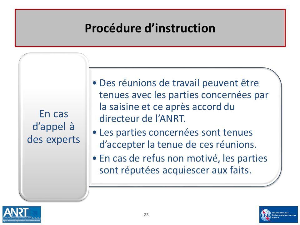 Procédure dinstruction Des réunions de travail peuvent être tenues avec les parties concernées par la saisine et ce après accord du directeur de lANRT