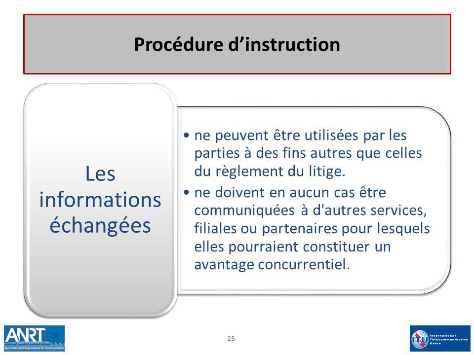 Procédure dinstruction ne peuvent être utilisées par les parties à des fins autres que celles du règlement du litige. ne doivent en aucun cas être com