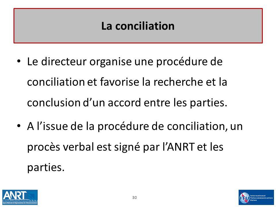 Le directeur organise une procédure de conciliation et favorise la recherche et la conclusion dun accord entre les parties. A lissue de la procédure d