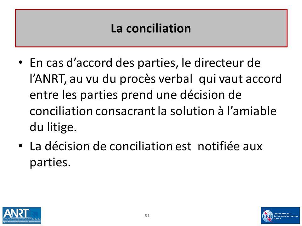 En cas daccord des parties, le directeur de lANRT, au vu du procès verbal qui vaut accord entre les parties prend une décision de conciliation consacr
