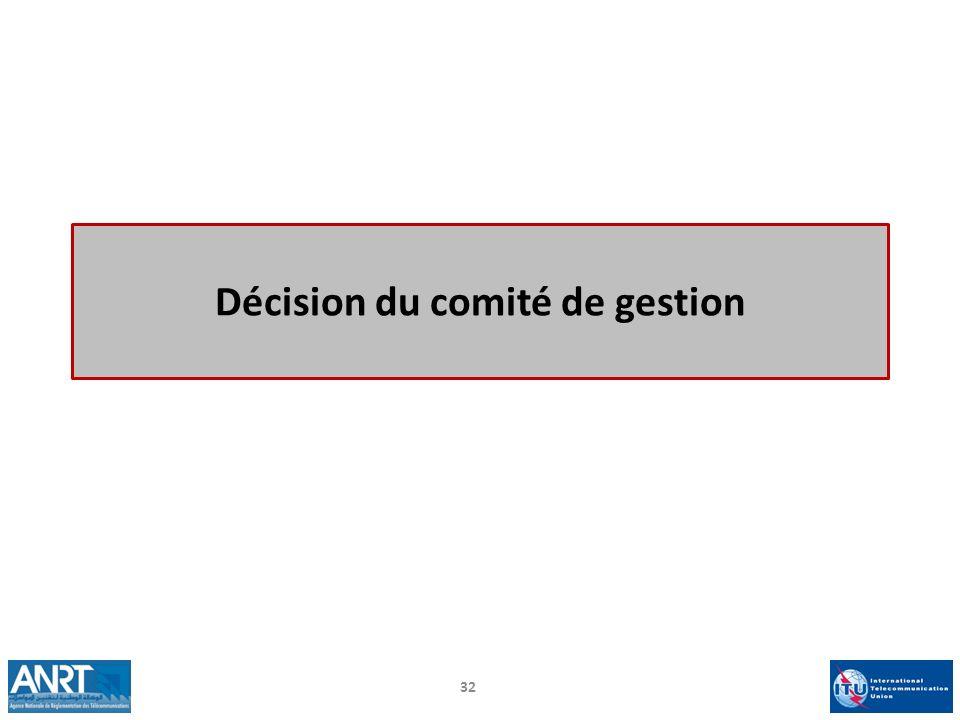 Décision du comité de gestion 32