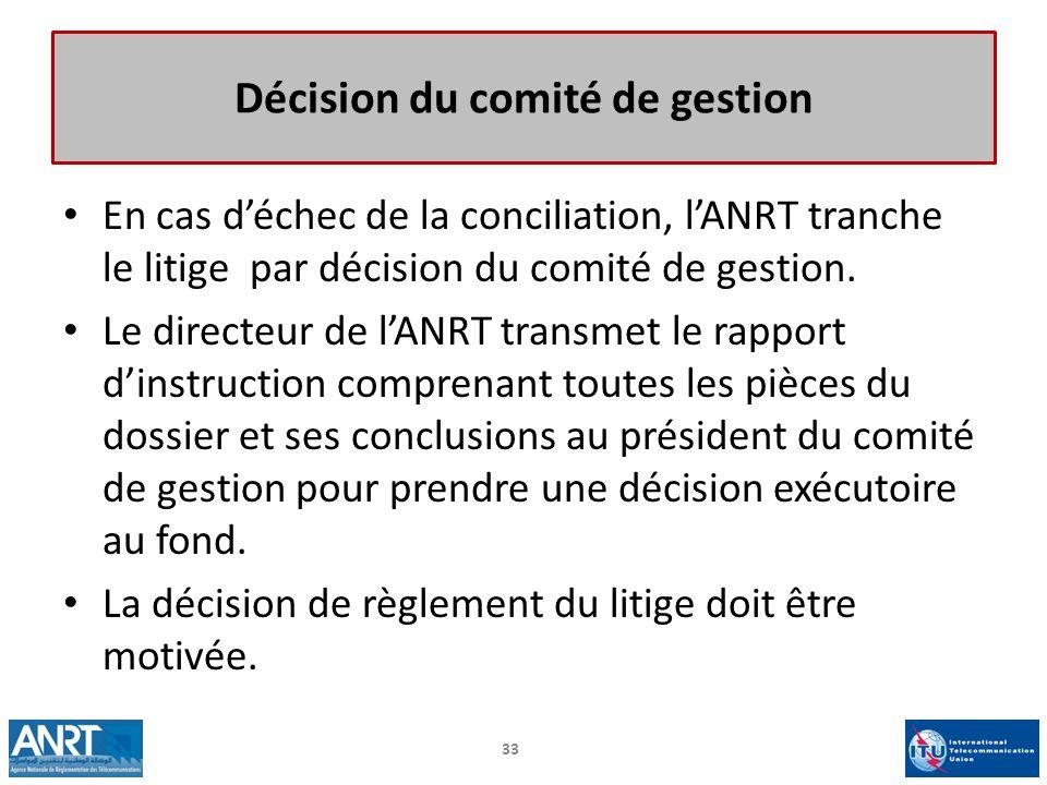 Décision du comité de gestion En cas déchec de la conciliation, lANRT tranche le litige par décision du comité de gestion. Le directeur de lANRT trans