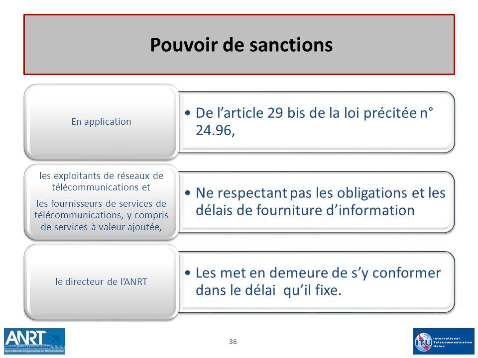 Pouvoir de sanctions De larticle 29 bis de la loi précitée n° 24.96, En application Ne respectant pas les obligations et les délais de fourniture dinf