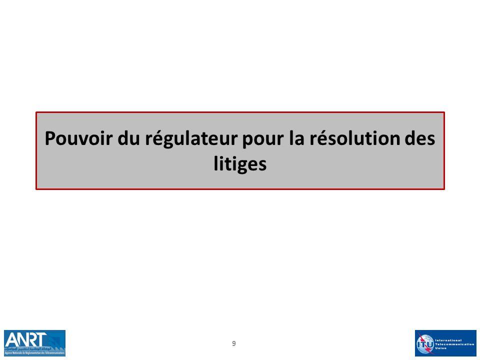 Pouvoir du régulateur pour la résolution des litiges 9