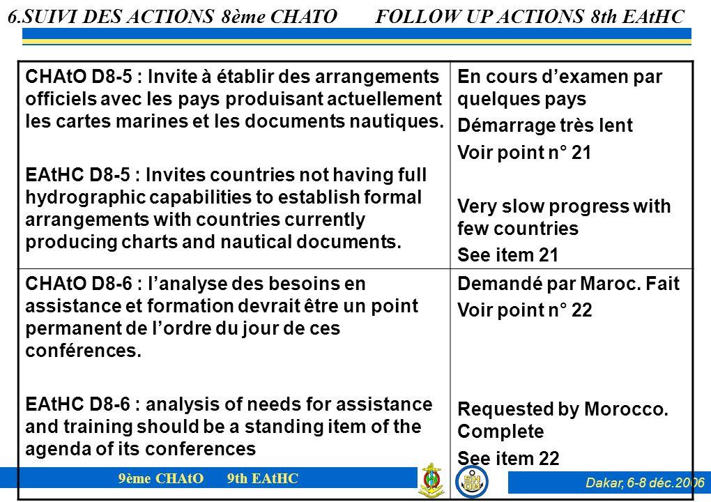 Dakar, 6-8 déc.2006 9ème CHAtO 9th EAtHC CHAtO D8-5 : Invite à établir des arrangements officiels avec les pays produisant actuellement les cartes marines et les documents nautiques.