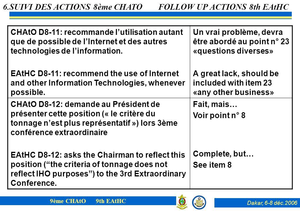 Dakar, 6-8 déc.2006 9ème CHAtO 9th EAtHC CHAtO D8-11: recommande lutilisation autant que de possible de lInternet et des autres technologies de linfor