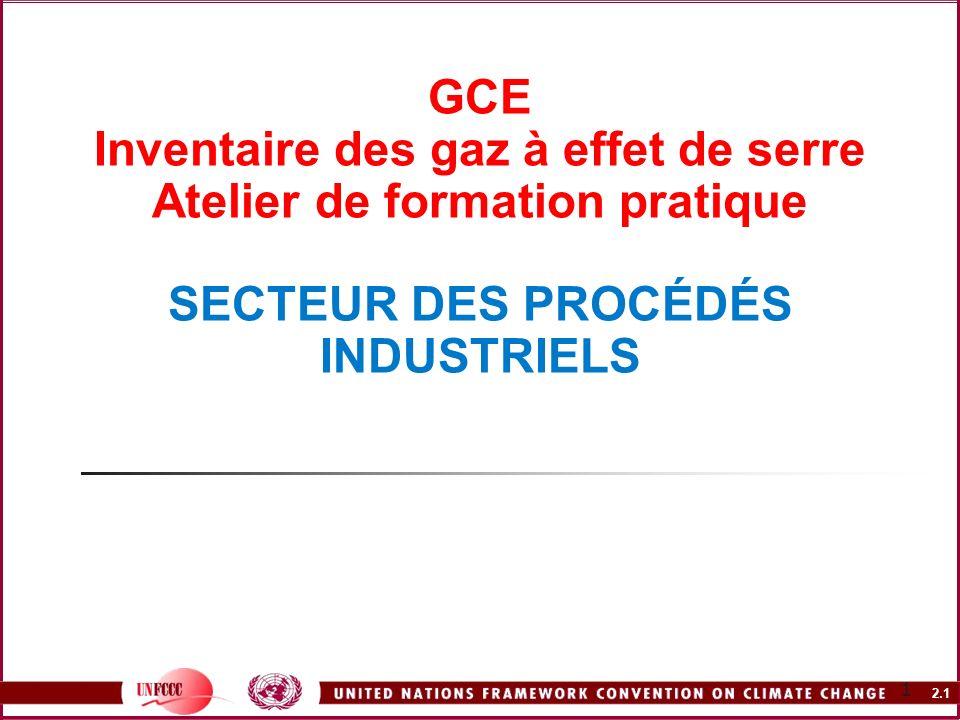 2.1 1 GCE Inventaire des gaz à effet de serre Atelier de formation pratique SECTEUR DES PROCÉDÉS INDUSTRIELS