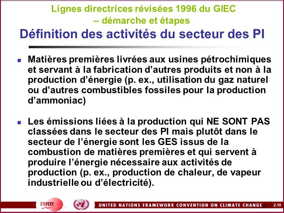 2.10 10 Lignes directrices révisées 1996 du GIEC – démarche et étapes Définition des activités du secteur des PI Matières premières livrées aux usines