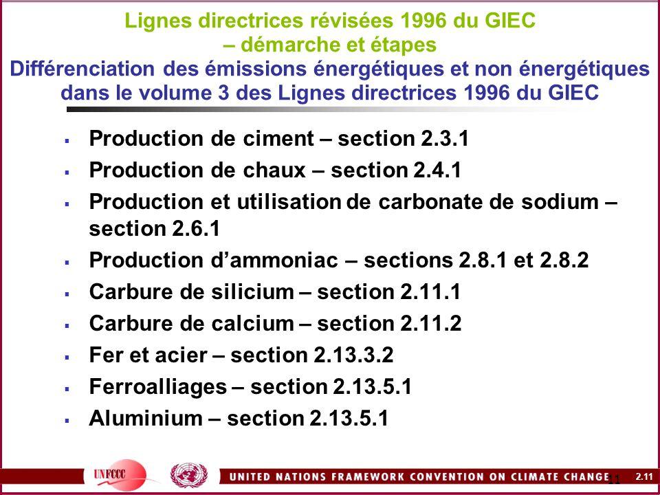 2.11 11 Lignes directrices révisées 1996 du GIEC – démarche et étapes Différenciation des émissions énergétiques et non énergétiques dans le volume 3