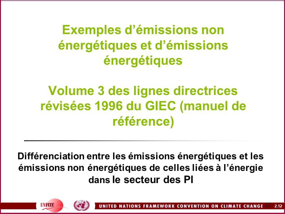 2.12 12 Exemples démissions non énergétiques et démissions énergétiques Volume 3 des lignes directrices révisées 1996 du GIEC (manuel de référence) Di