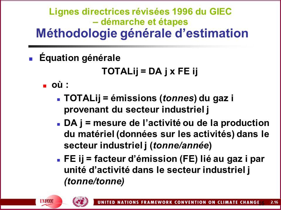 2.16 16 Lignes directrices révisées 1996 du GIEC – démarche et étapes Méthodologie générale destimation Équation générale TOTALij = DA j x FE ij où :