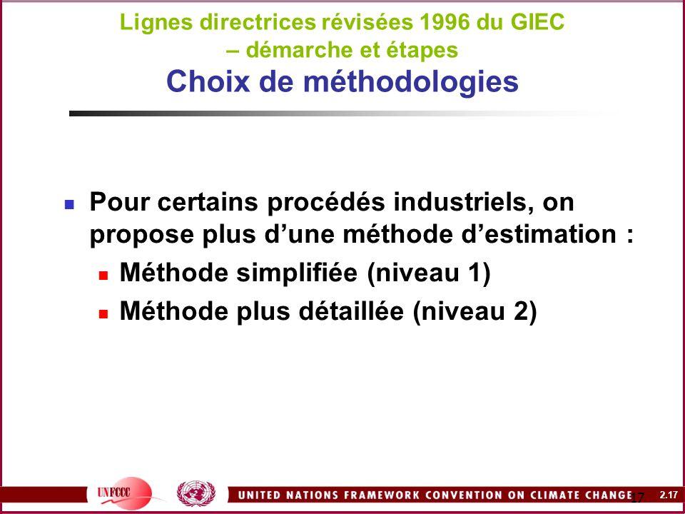 2.17 17 Lignes directrices révisées 1996 du GIEC – démarche et étapes Choix de méthodologies Pour certains procédés industriels, on propose plus dune