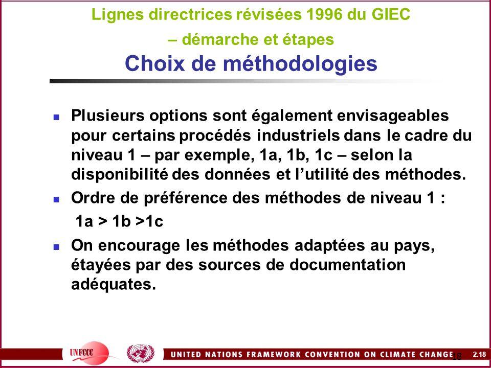 2.18 18 Lignes directrices révisées 1996 du GIEC – démarche et étapes Choix de méthodologies Plusieurs options sont également envisageables pour certa
